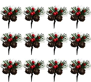 12PCS Artificial Pine Flower Picks,Red Berry Stems with Snow Flocked Holly Pine Cone Ball,Artificial Plants Small Pine Picks for Christmas Tree, Crafts, Arrangements Wreaths and Holiday Decorations