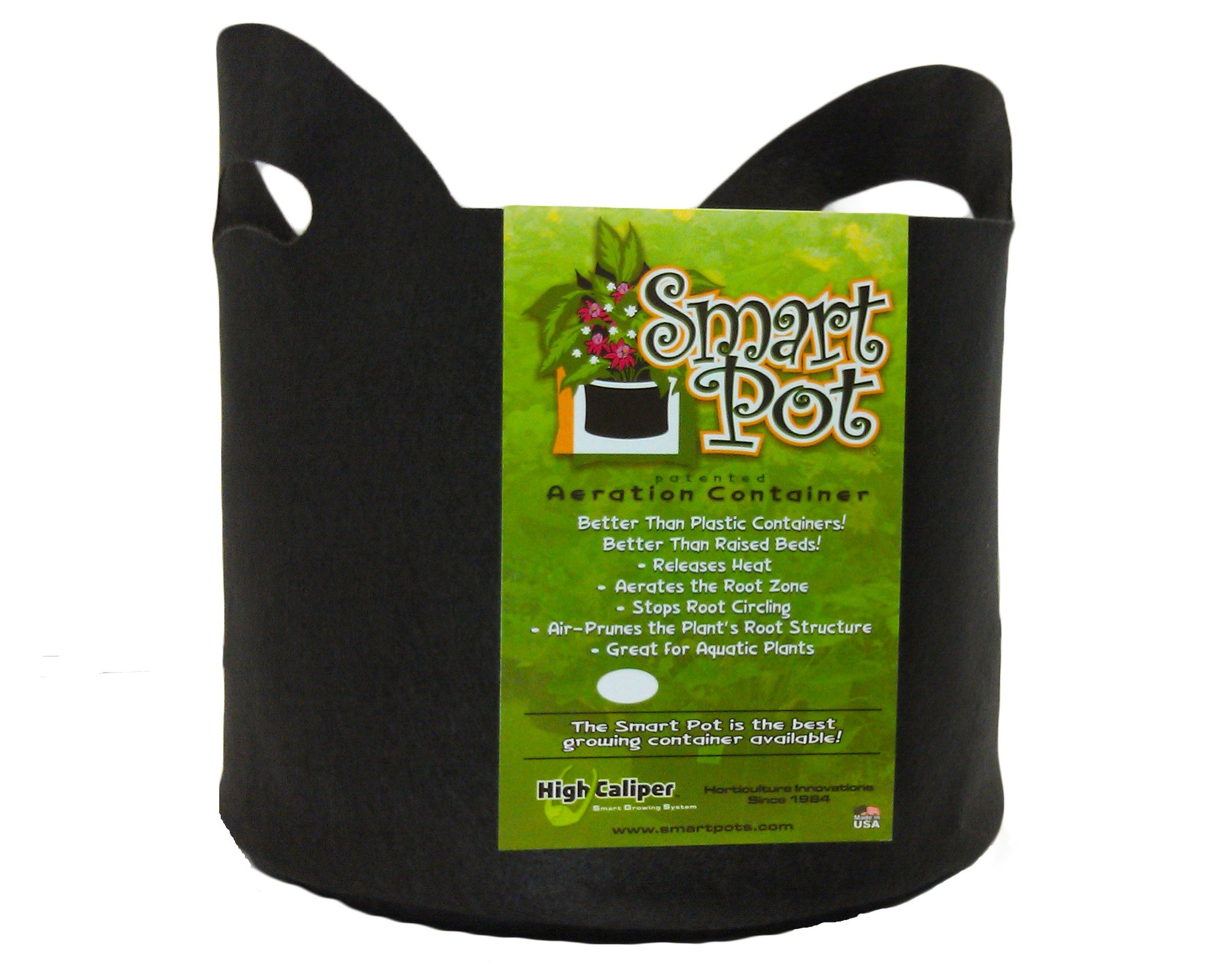 Smart Pots 5-Gallon Smart Pot Soft-Sided Container, Black with Cut handles