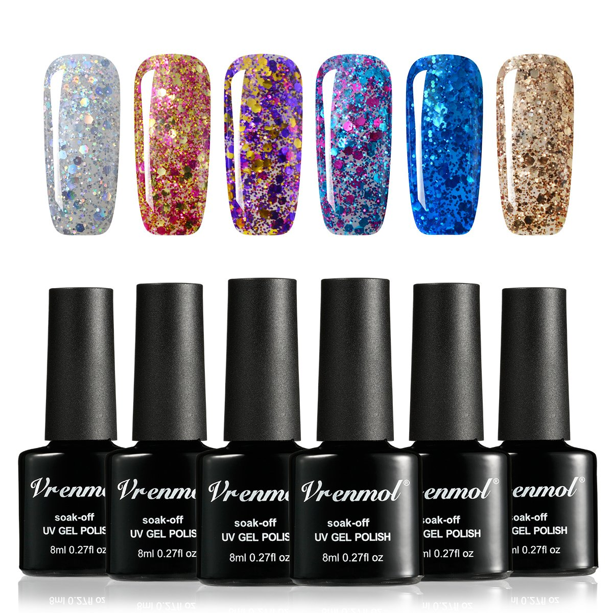 Amazon.com : Vrenmol Gel Nail Polish Set 6pcs Soak Off UV LED ...
