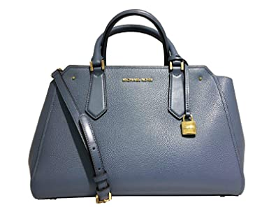 05eabc760db1 Michael Kors Large Hayes Leather Satchel Crossbody in Denim ...