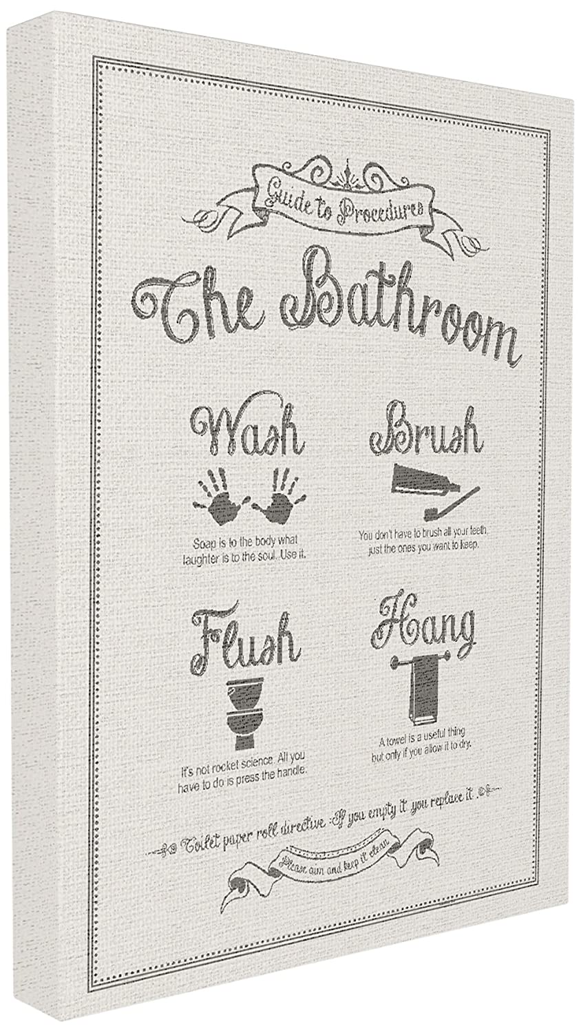 Stupell Industries Guide To Bathroom Procedures Linen Look Wall Plaque Art Proudly Made in USA