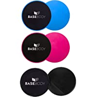 BaseBody Gliding Discs - Pink or Blue or Black – Core Sliders - Exercise Discs - Reversible for use on Carpet or Hard Floors – Core Trainer – Core Slider- Abdominal workout - Crossfit