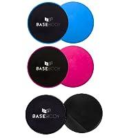 Disques à glisse - Rose ou Bleu - Curseurs de base - Disques d'exercice - Réversible pour utilisation sur tapis ou sols durs - Entraîneur de base - Curseur de base - Corps total - Exercice abdominale - Exercice de base - Gymnase à domicile - Flexibilité - Crossfit - par Basebody®