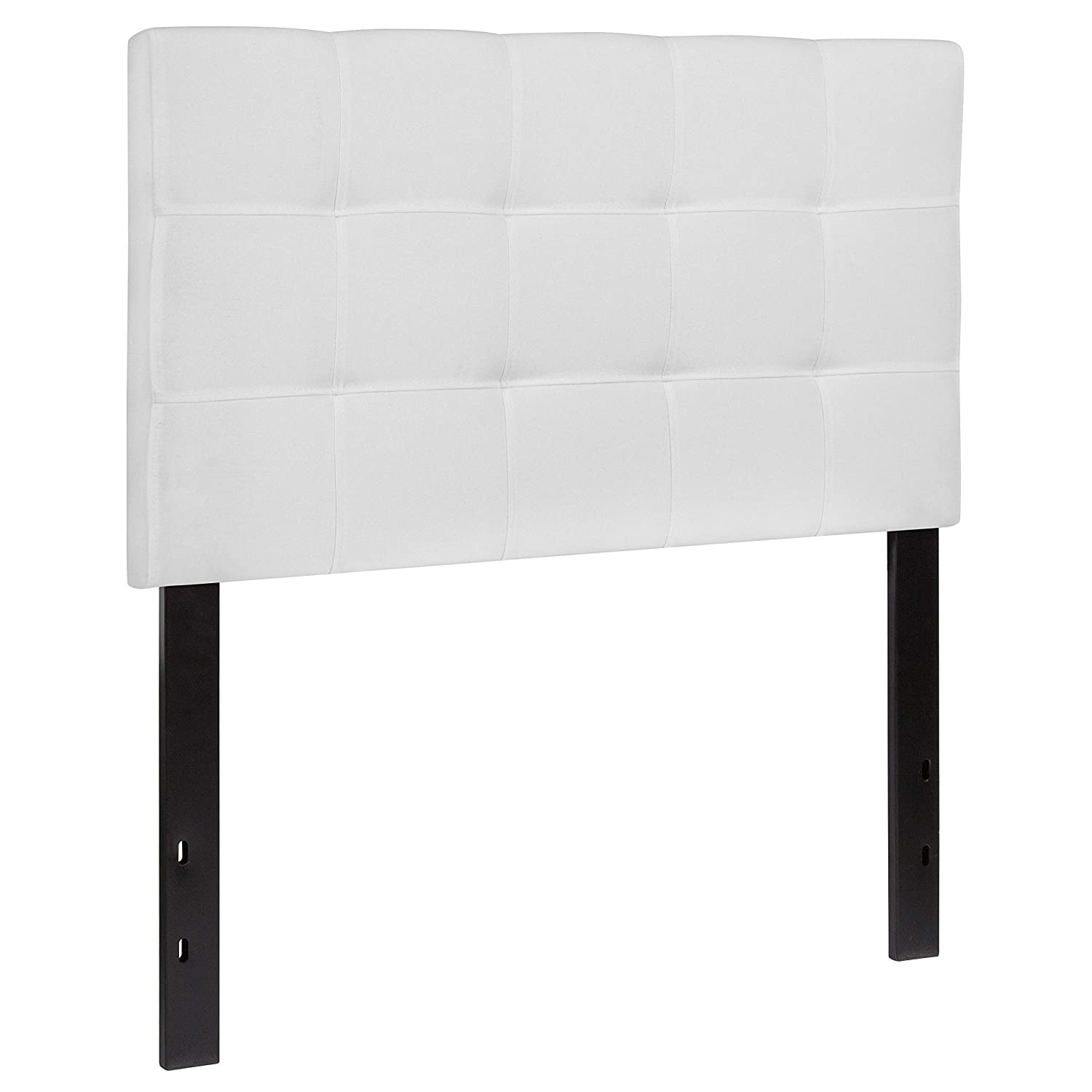 Flash Furniture Bedford Tufted Upholstered Twin Size Headboard in White Fabric