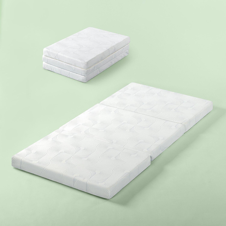 Zinus Gel Memory Foam 3 Inch Tri-Fold Comfort Portable Folding Floor Mat, Cot Size by Zinus