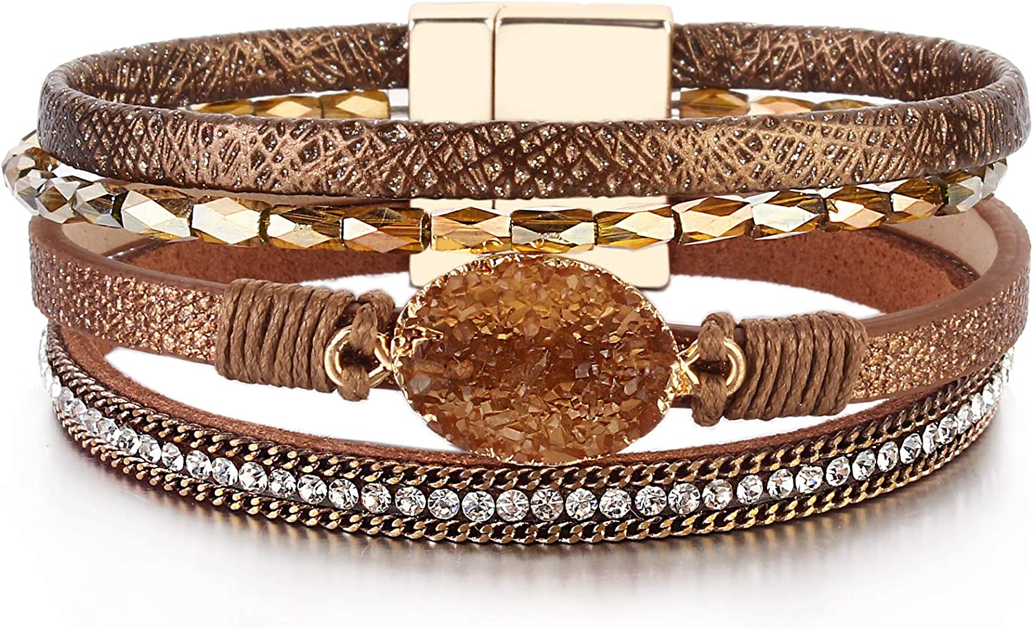 FANCY SHINY Leather Wrap Bracelet Boho Cuff Bracelets Crystal Bead Bracelet with Magnetic Clasp for Women