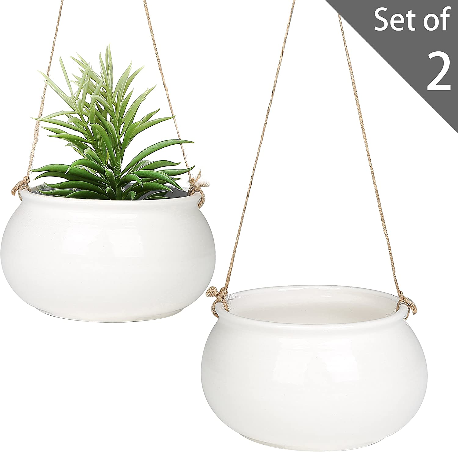 MyGift 7-Inch Round White Ceramic Hanging Planter Pots with Jute Twine Rope, Set of 2