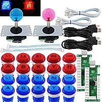 SJ@JX Arcade 2-spelare spelkontroll-pinne gör-det-själv-kit LED-knappar med logotyp MX Microswitch 8-vägs joystick USB…