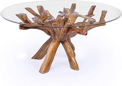 Teak Root Dining Table Including 48 Inch Glass Top Made