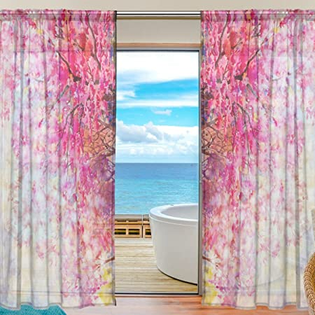 ABLINK Sakura Pattern Watercolour Pink Fabric Sheer Decor Voile ...