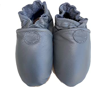product image for BASIC MOCS (dove grey) Handmade in USA, All-Natural Leather Baby Shoes.