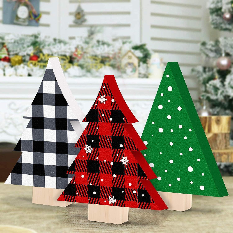 Huray Rayho Buffalo Plaid Christmas Tree Decorations Christmas Tiered Tray Decor Holiday Wooden Tree Signs Farmhouse Home Decor Set of 3