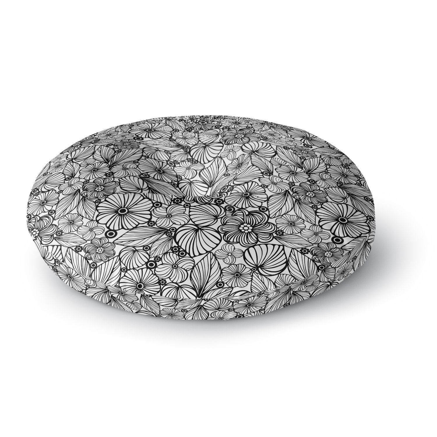 Kess InHouse Julia Grifol Candy Flowers in Black Gray White Round Floor Pillow 26