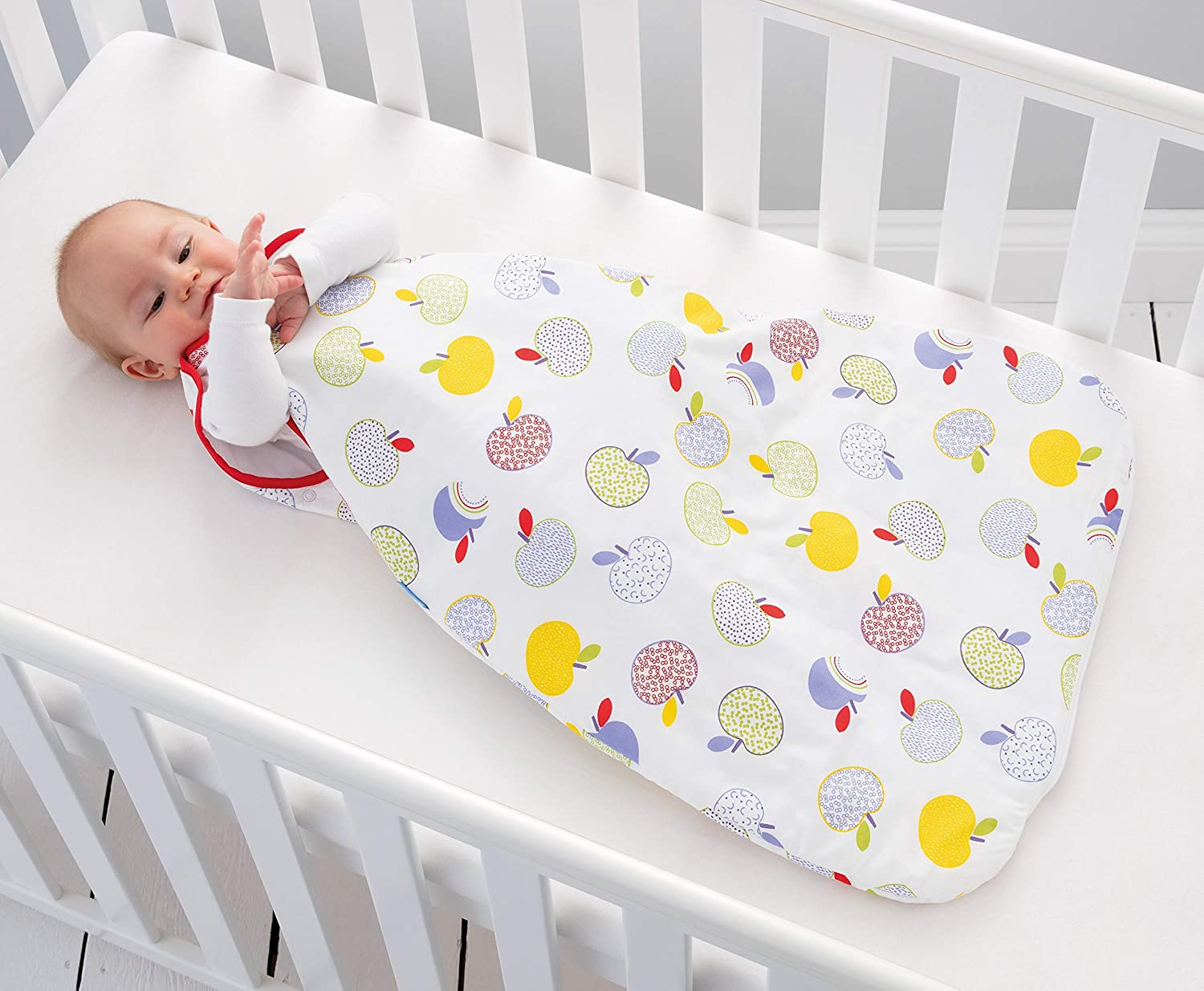 Grobag Baby NB862 Cotton 2.5 Tog Sleeping Bags Twin Pack 18 to 36 Months Multi Coloured Apple Days Design