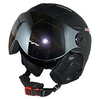 protectWEAR - Casque de ski MS95 noir mat avec deux visières rabattables