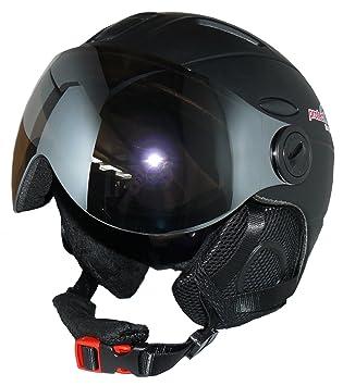 protectWEAR - Casco de esquí MS95 negro mate con dos viseras plegables - XL