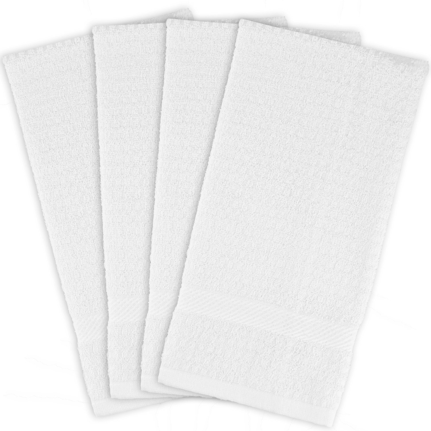 "DII Cotton Waffle Terry Dish Towels, 15 x 26"" Set of 4, Ultra Absorbent, Heavy Duty, Drying & Cleaning Kitchen Towels-White"