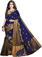 BlueGene Women's Designer cotton Saree with Blouse Piece (Navybluework)