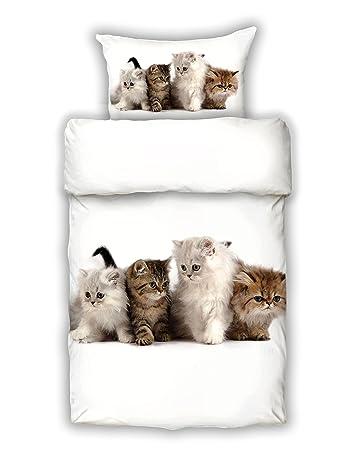 Bettwäsche Katzen Kätzchen Mako Satin Baumwolle 135x200 Digitaldruck