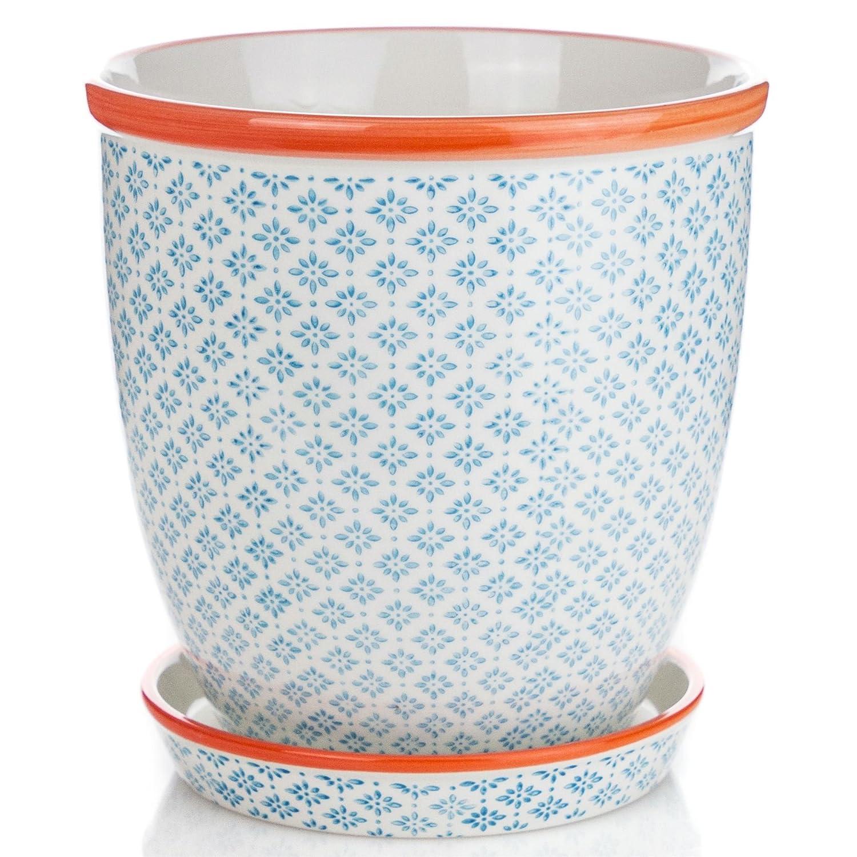 Nicola Spring Porcelain Flower Pot With Drip Tray in Blue/Orange Print - Diameter 203mm