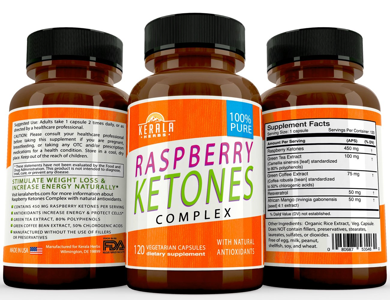 Kerala Herbs Raspberry Ketones Complex for Natural Weight Loss and Boost Energy Easy Swallow Pill, Advanced Antioxidants, Green Tea Extract, Green Coffee Extract for Appetite Suppression 120 capsules by Kerala Herbs