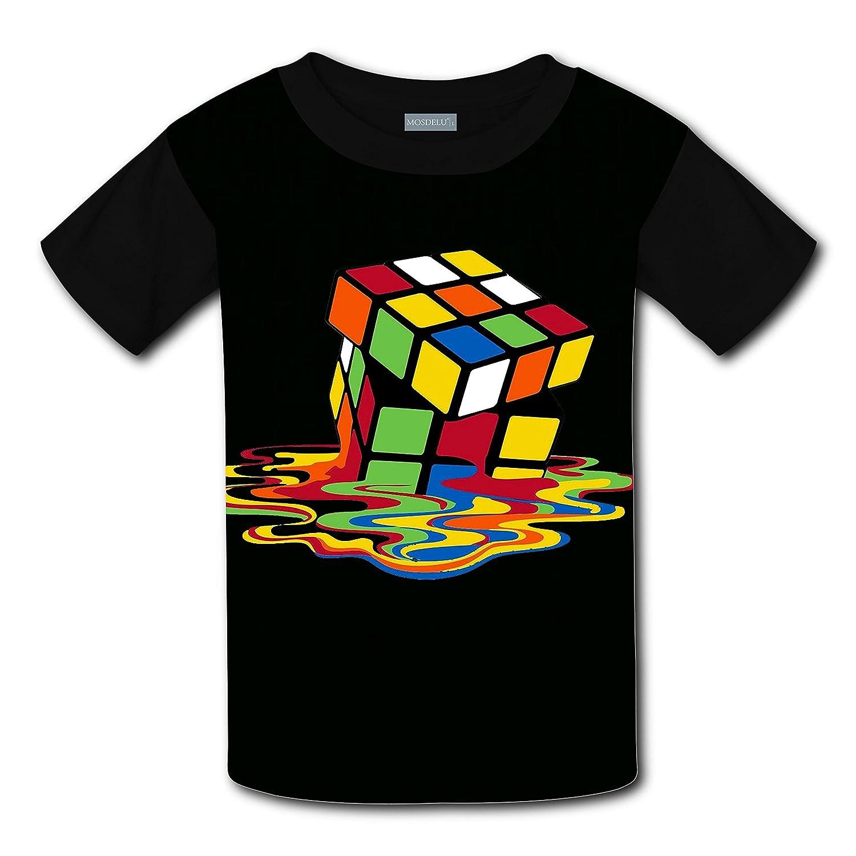 LDOJ Boys Girls 3D Printed Rubiks Cube LOGO Short Sleeve T-Shirt Tee
