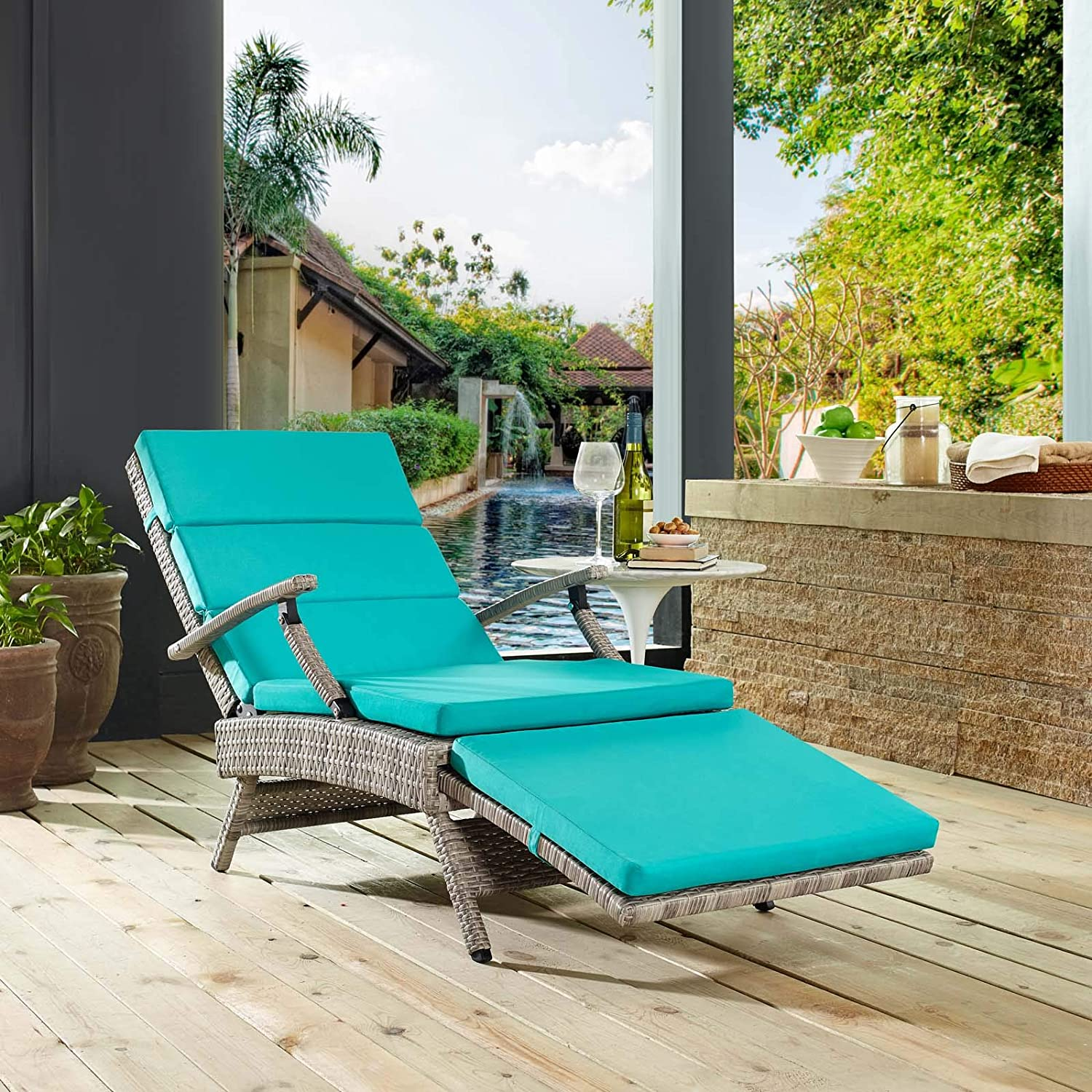 Modway Envisage Outdoor Patio Wicker Rattan Chaise Lounge in Light Gray Turquoise