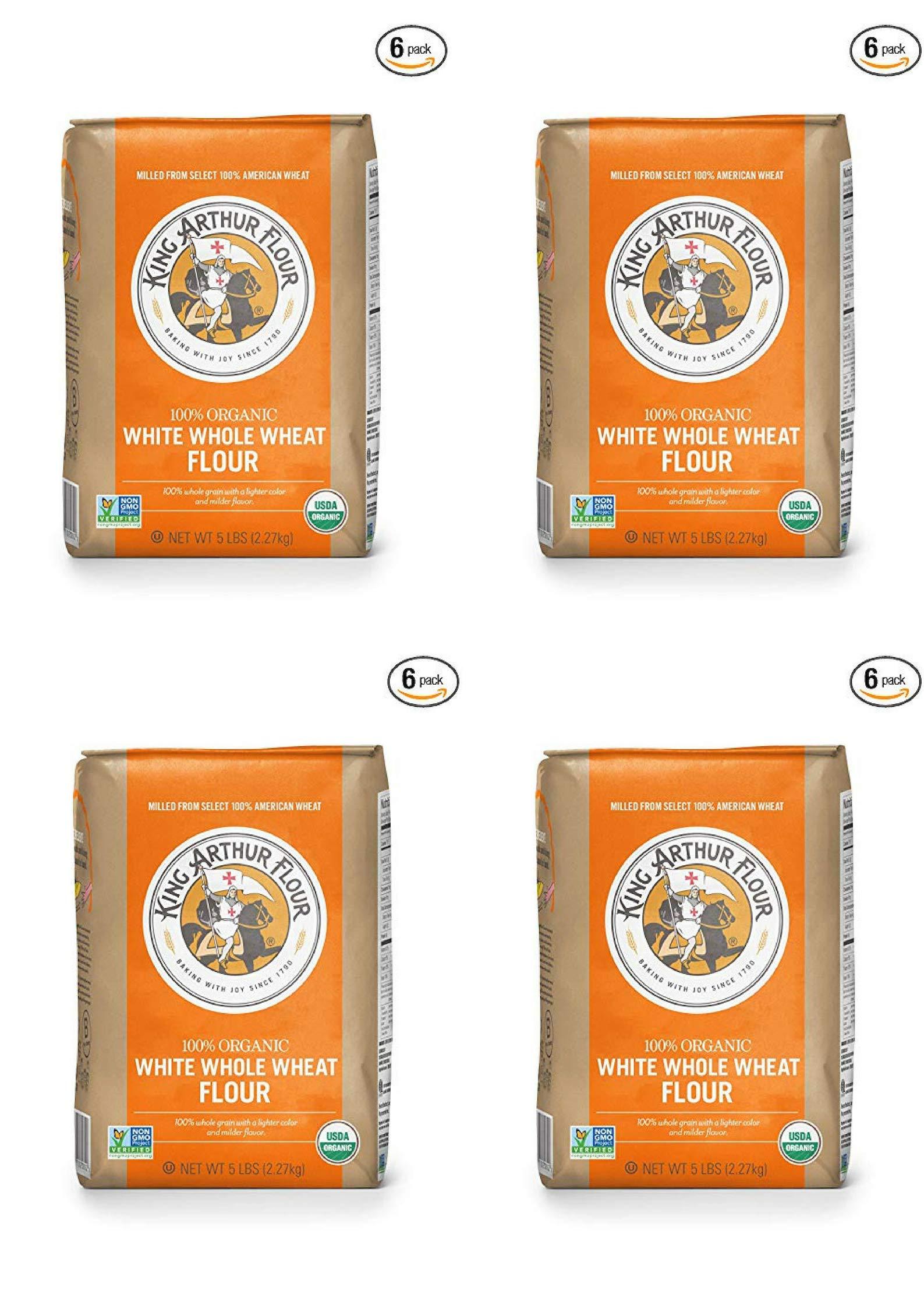 King Arthur Flour 100% Organic White Whole Wheat Flour, 5 Pound (24 Pack) by King Arthur Flour (Image #1)