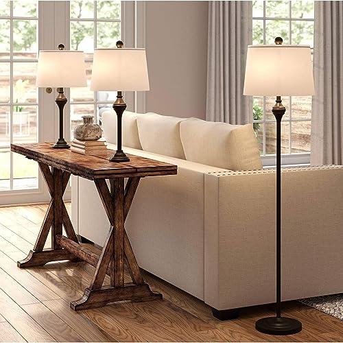 Mason Traditional 3 Piece Table Floor Lamp Set Dark Bronze Metal White Drum Shade Decor