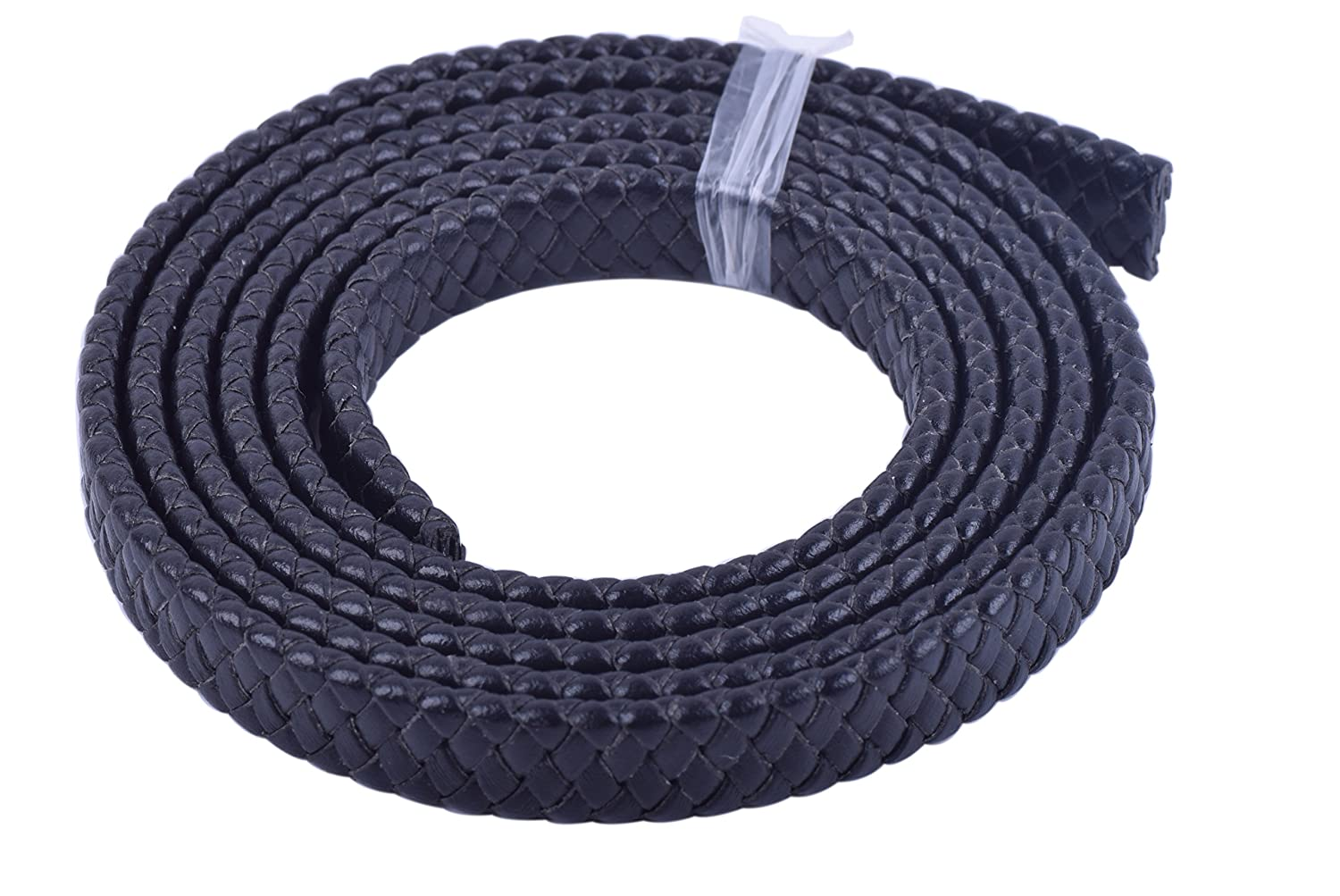 10.0x3.0mm Black KONMAY 2 Yards Fold Flat Braided Real Leather Cord Straps for Jewelry Making