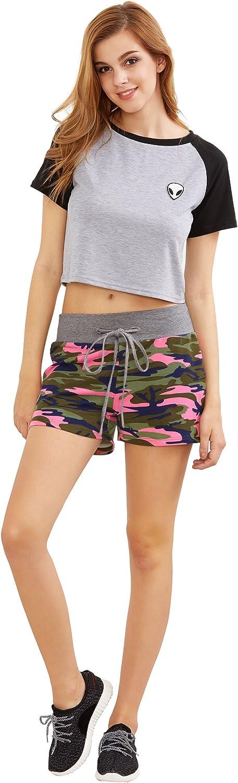 SweatyRocks Camouflage Womens Workout Yoga Hot Shorts