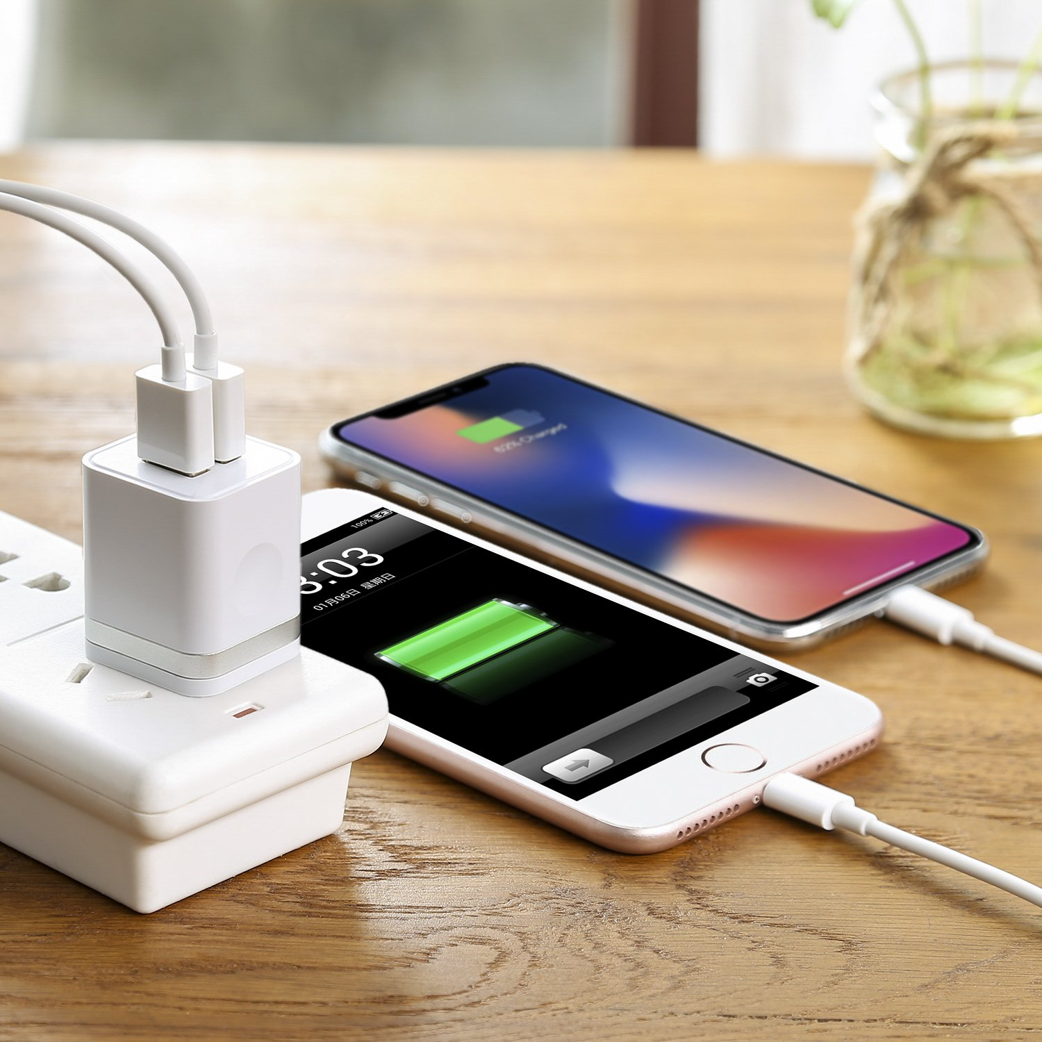 LEEKOTECH USB Wall Charger, [UL Certified] 3-Pack 2.1A USB Plug Dual Port Power Adapter Charging Block Cube for iPhone X 8 7 6 Plus 4 5S, iPad, Samsung Galaxy S5 S6 S7 Edge, Android Cell Phone by LEEKOTECH (Image #7)