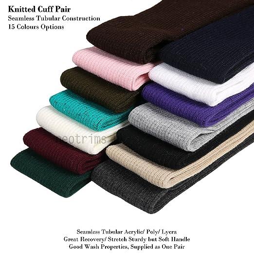 Bandas de tela tubular, Tejido canalé 2x2, sin costuras. Neotrims. Buena materia para puños de chaquetas. Disponible en 12 colores bonitos.
