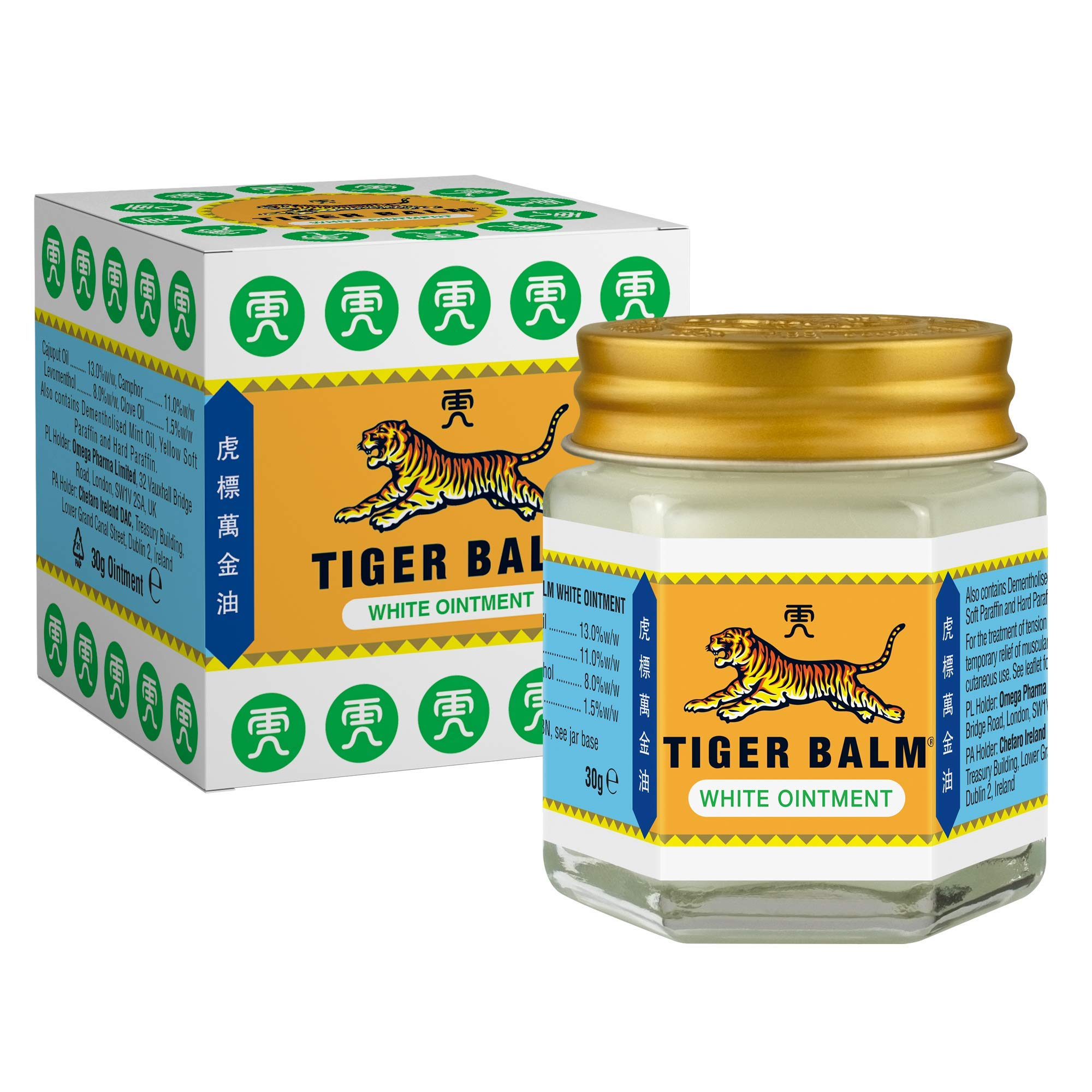 Tiger Balm White Ointment 30 g - For the treatment of tension headaches and temporary relief of muscular aches and pains