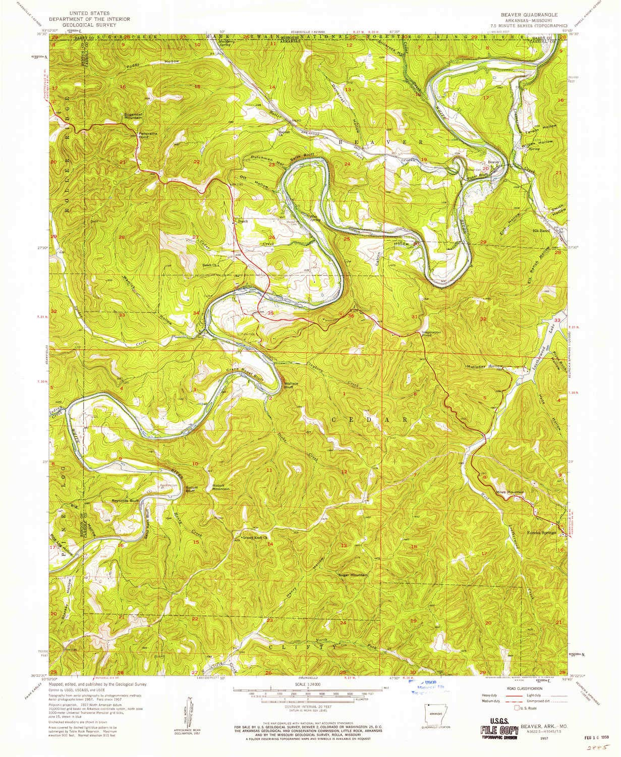 Amazon.com : YellowMaps Beaver AR topo map, 1:24000 Scale, 7.5 X 7.5 ...