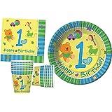 Kit Party Tavola Primo Complenno Azzurro per 30 persone (100 pezzi: 30 piatti carta Ø18cm, 30 bicchieri plastica 200ml, 40 tovaglioli carta 33x33cm)