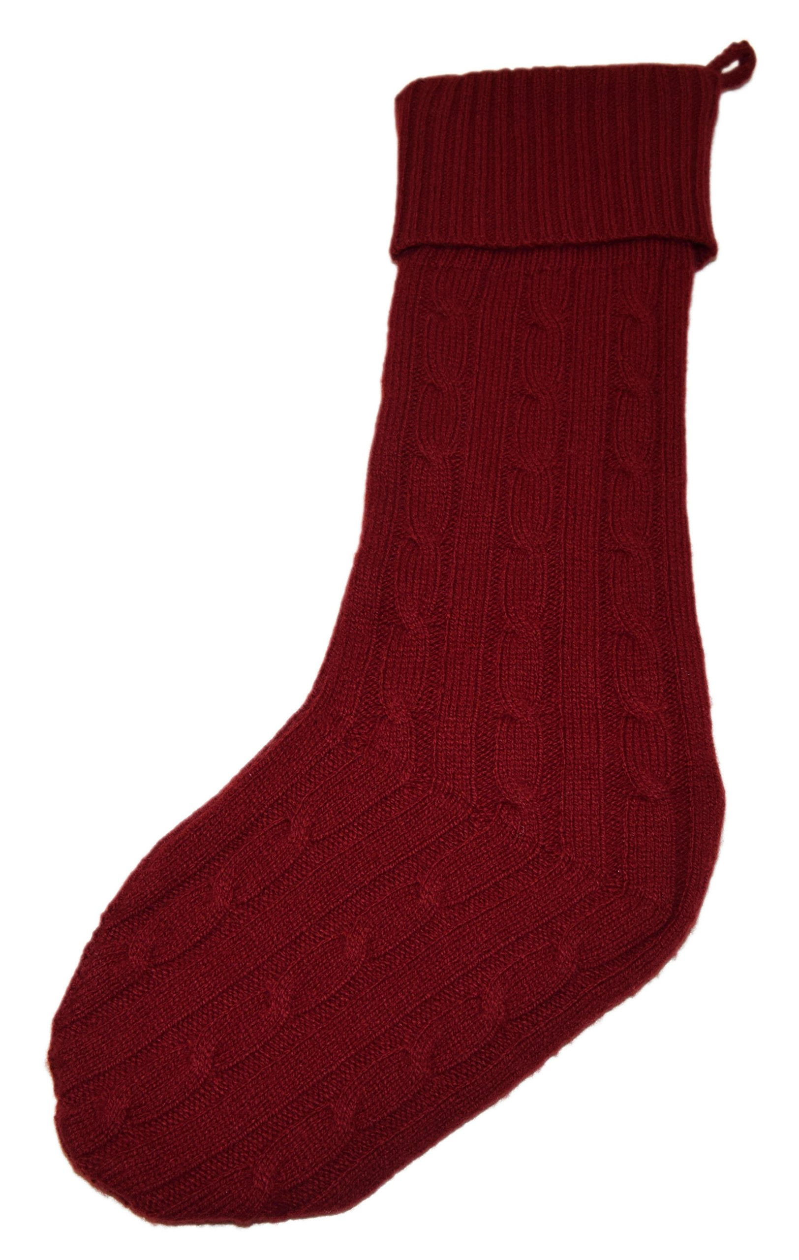 Polo Ralph Lauren Home Christmas Farmhouse Cashmere Cable Ribbed Stocking Red