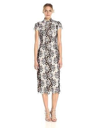 3fdee1ccc643 ML Monique Lhuillier Women's Lace High Neck Dress, Black/White 16 at ...