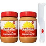 SunButter Creamy Sunflower Butter 16 Ounce (Pack of 2) with By The Cup Spreader