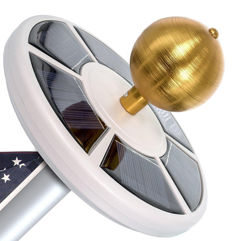 Maggift 26 LED Solar Flag Pole Light, Solar Flagpole Downlight for Most 15 to 25 Ft Flag Pole (White)