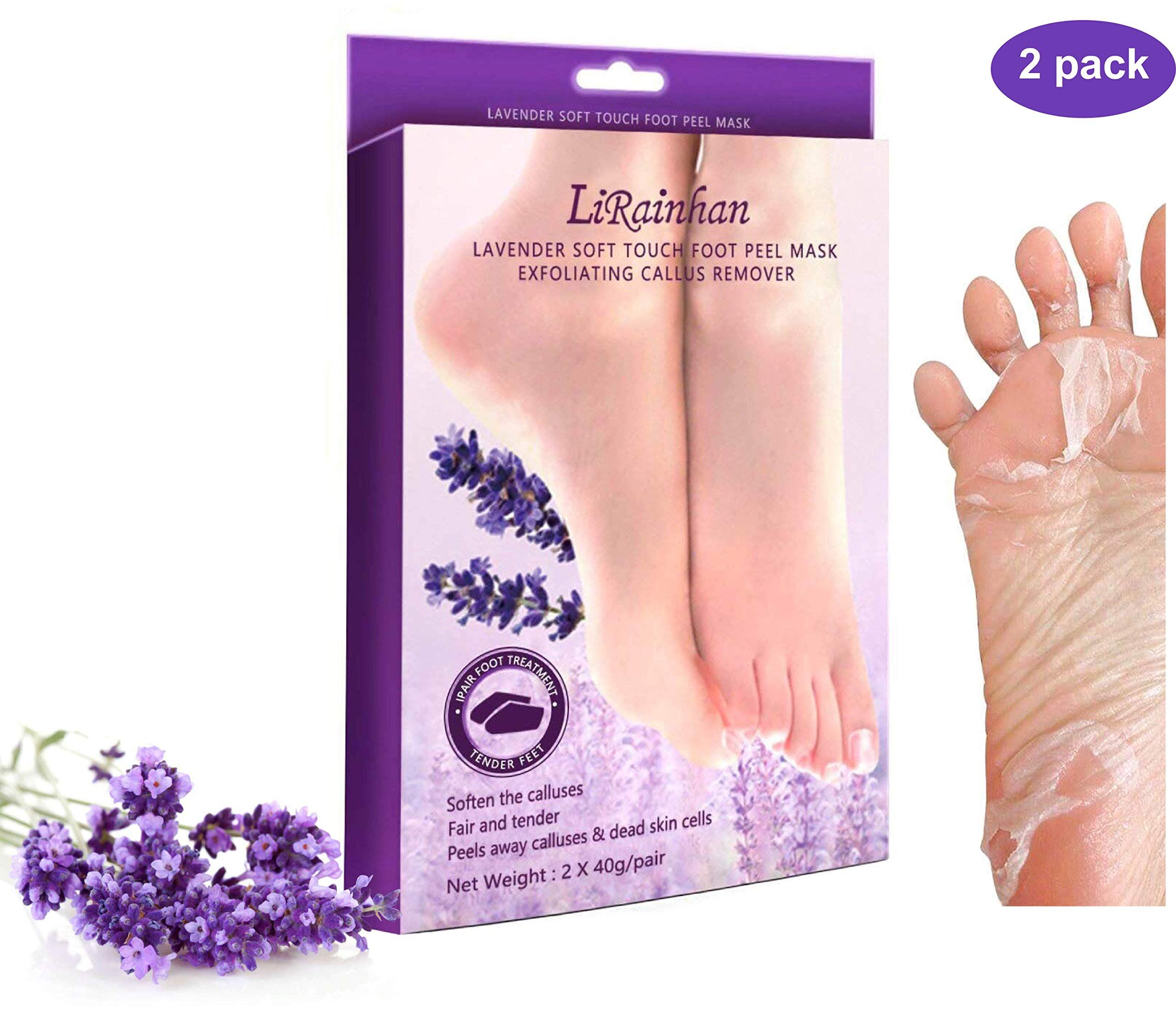 Exfoliating Foot Peel Mask for Smooth Soft Feet-2 Pairs Lavender Booties Peeling Off Dead Skin Cells and Calluses in 1-2 Weeks, 2 Pack For Baby Soft Touch Foot