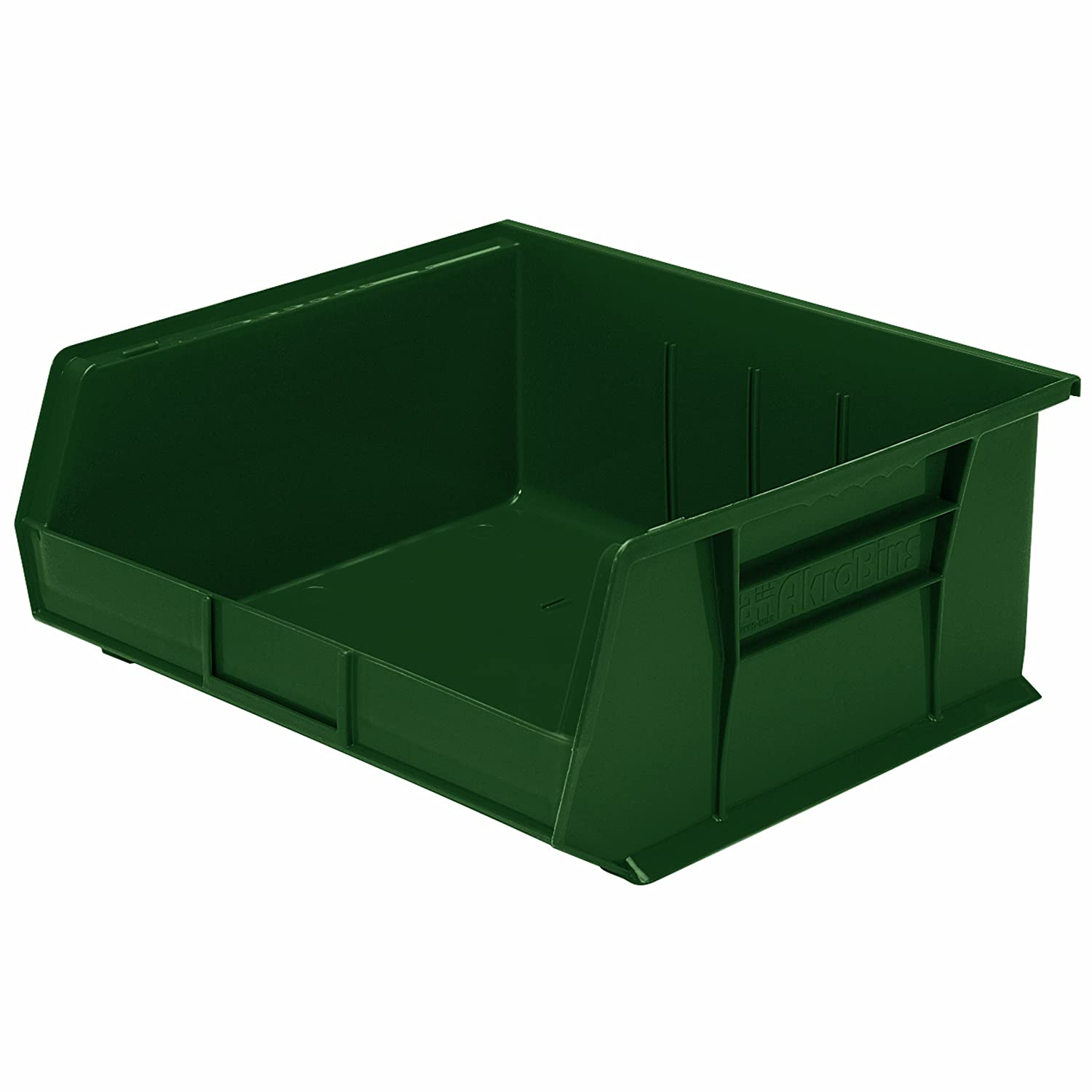 Akro-Mils 30250 RECYHG 15-Inch by 16-Inch by 7-Inch EarthSaver Recycled Plastic Stacking Hanging Akro Bin, Hunter Green, 6-Pack 30250RECYHG