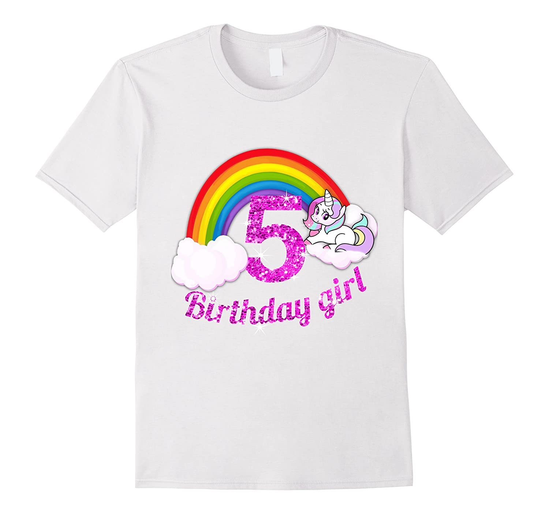 5th Birthday Girl Shirt Rainbow Unicorn Princess PL