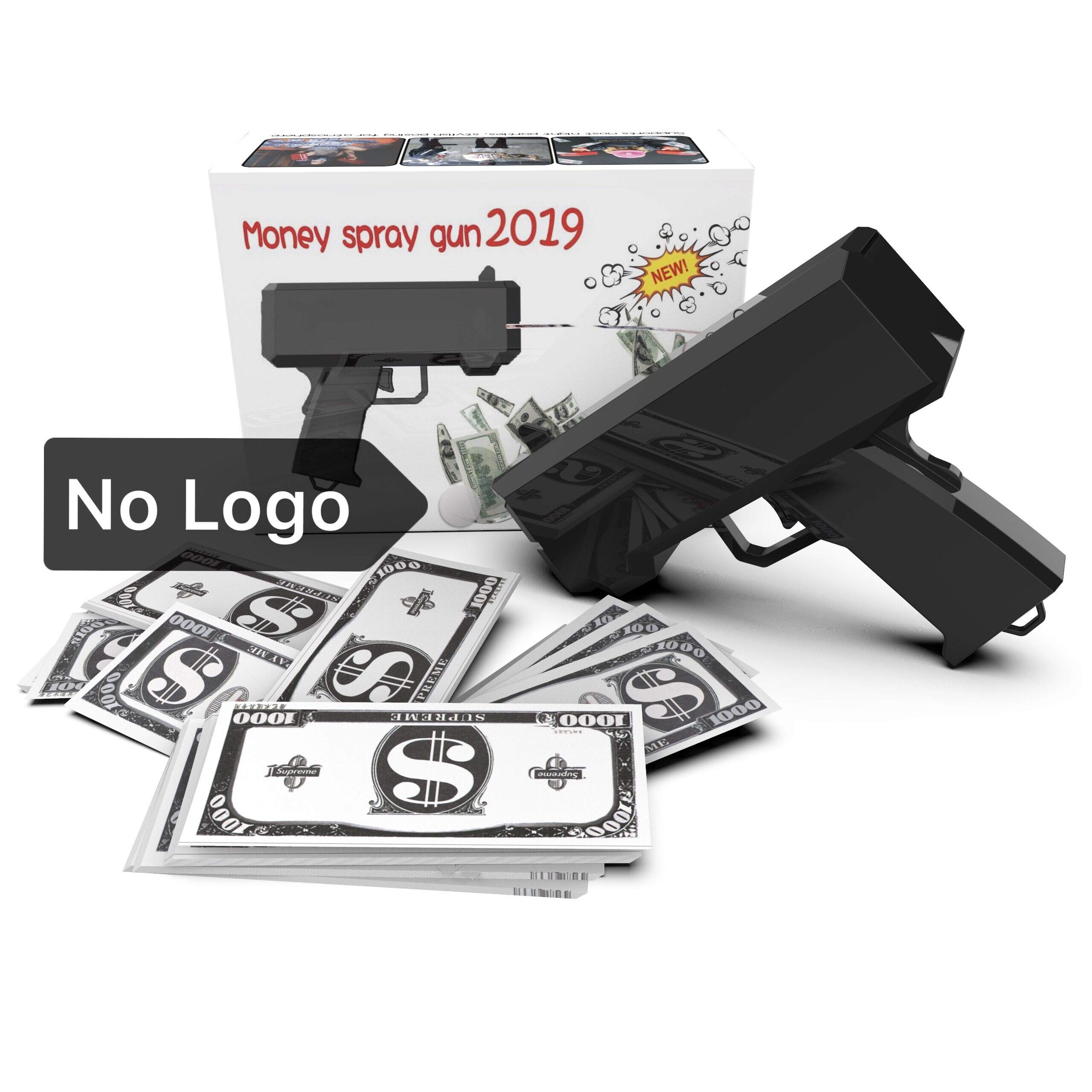 1731 NO Logo Money Gun with no Logo on Both Side it Come with10,000$ Fake Money, Money Gun with no Writing, Black Money Gun, Cash Gun for Game for Party Birthday by 1731