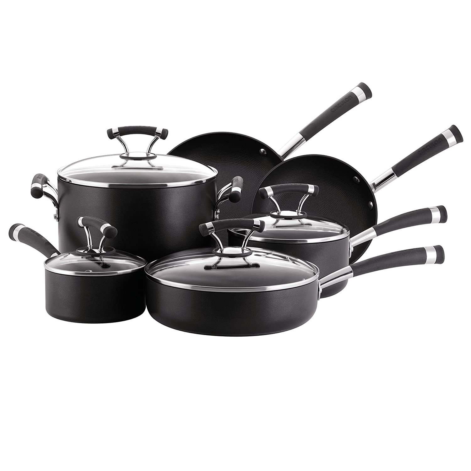Circulon Contempo Hard-Anodized Nonstick 10-Piece Cookware Set, Black
