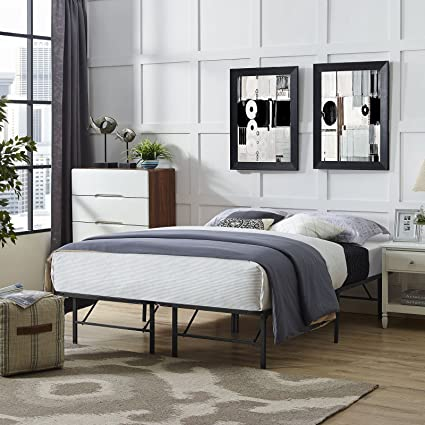 Amazon.com: Modway Horizon Queen Bed Frame In Brown - Replaces Box ...