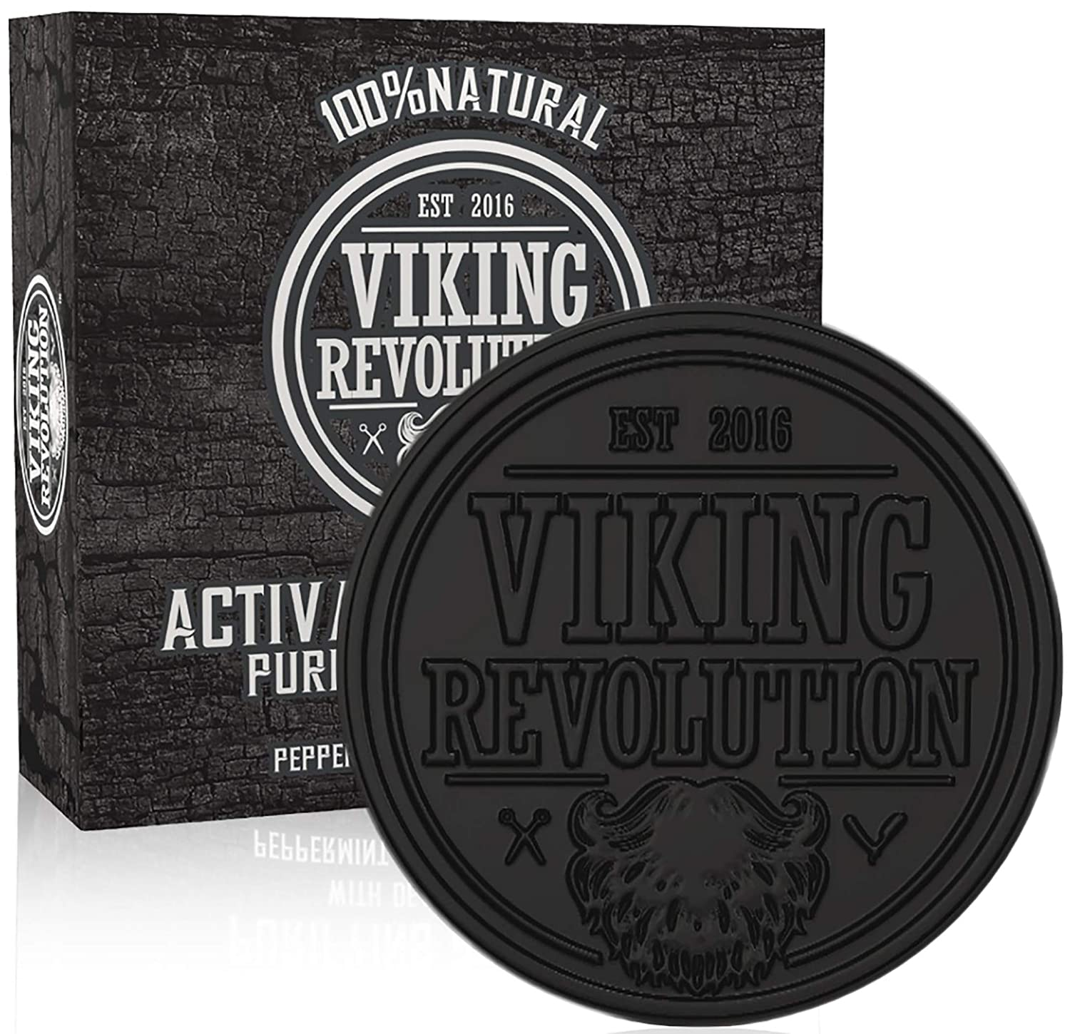 Activated Charcoal Soap for Men w/Dead Sea Mud - Mens Bar Soap w/Peppermint & Eucalyptus Scent Viking Revolution