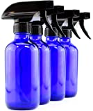 8-Ounce Cobalt Blue Glass Spray Bottles (4-Pack); Boston Round Bottles w/ 3-Setting Adjustable Sprayers for Aromatherapy, DIY Cleaning & More