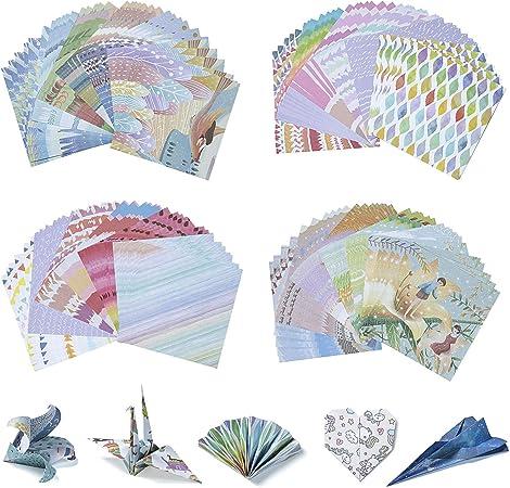 3 Misure Diealles Shine Set Carta per Origami Giapponese Colore Casuale 72 Fogli Lato Singolo Washi Carta Origami per Progetti Artistici e Creativi