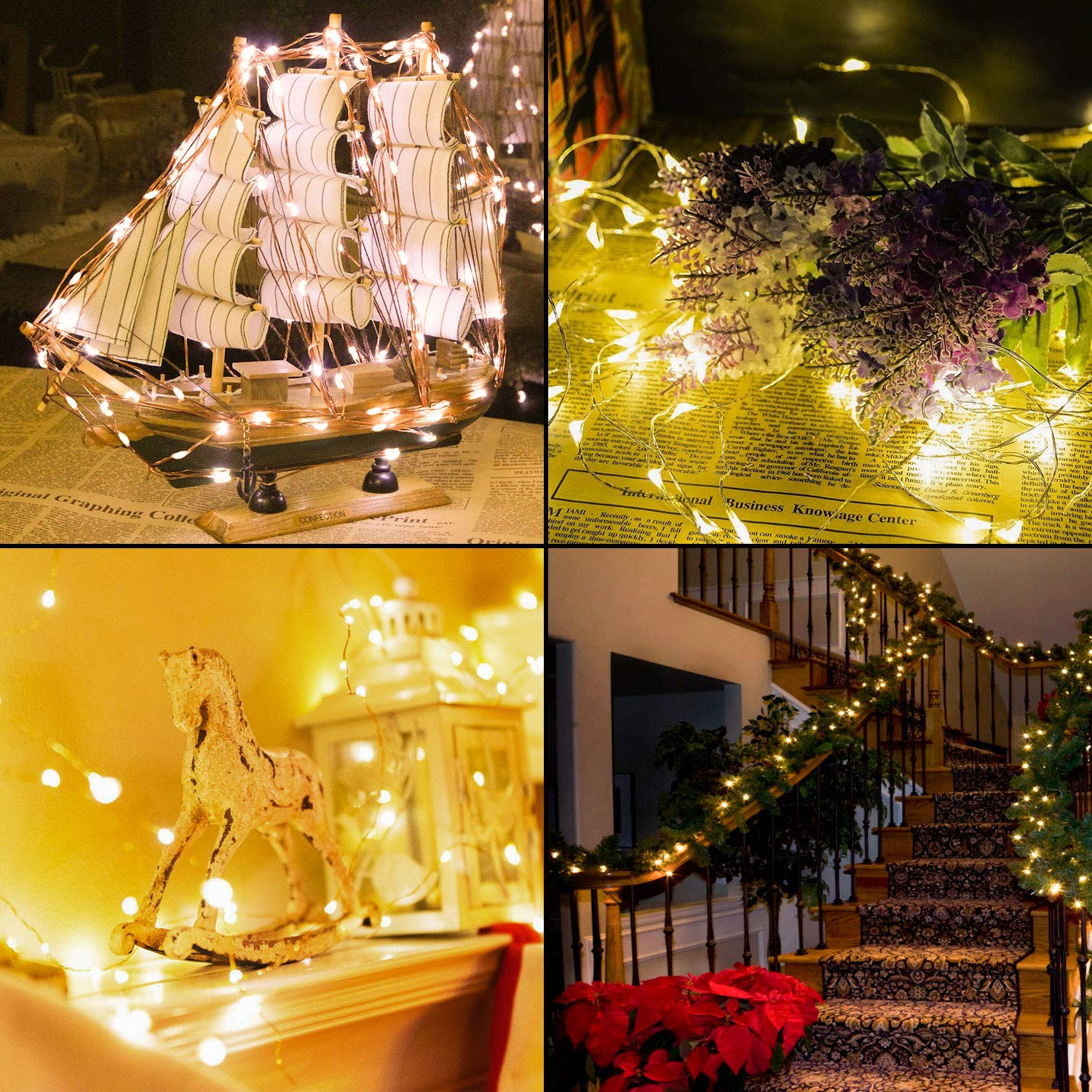 TingMiao Fairy Lights Battery Operated String Lights with Remote Color Timer Waterproof Copper Wire String Lights for Bedroom Indoor,16.4 ft 50 LEDs Multicolor 12 Modes